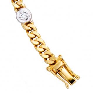 Armband 585 Gold Gelbgold Weißgold bicolor 6 Diamanten Brillanten 19 cm - Vorschau 4