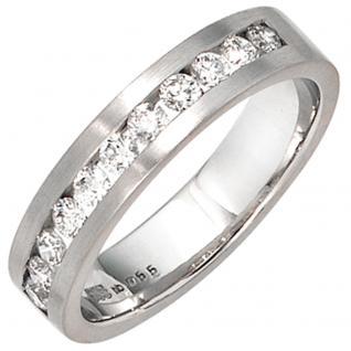 Damen Ring 585 Gold Weißgold mattiert 11 Diamanten Brillanten 0, 55ct. Goldring