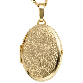 Medaillon oval für 2 Fotos 333 Gold Gelbgold matt Anhänger zum Öffnen - Vorschau 4