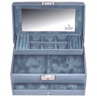 Sacher Schmuckkoffer Schmuckkasten PASTELLO blau Schloss Spiegel Schublade