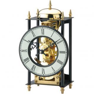 AMS 1180 Tischuhr Metall schwarz golden mechanisch mit Schlagwerk vintage antik