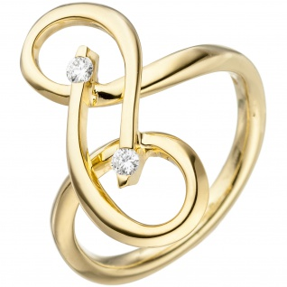 Damen Ring verschlungen 585 Gold Gelbgold 2 Diamanten Brillanten Diamantring