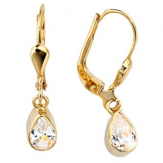 Ohrhänger Tropfen 333 Gold Gelbgold 2 Zirkonia Ohrringe Boutons Goldohrringe