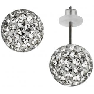 Ohrstecker Kugel Edelstahl mit Kristallsteinen Ohrringe Kugelohrstecker