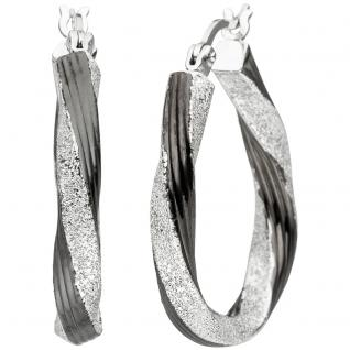 Creolen gedreht oval 925 Sterling Silber schwarz bicolor Ohrringe