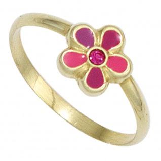 Kinder Kinder Ring Blume pink rot 333 Gold Gelbgold 1 Glasstein Kinderring