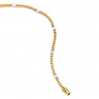 Armband 585 Gold Gelbgold Weißgold bicolor 6 Diamanten Brillanten 19 cm - Vorschau 3