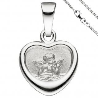 Anhänger Kleines Herz Herzchen Schutzengel 925 Sterling Silber mit Kette 42 cm