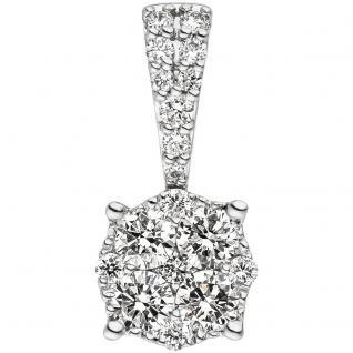 Anhänger 585 Gold Weißgold 18 Diamanten Brillanten 0, 39ct. Diamantanhänger
