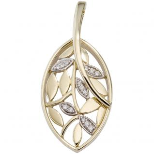 Anhänger 585 Gold Gelbgold bicolor 14 Diamanten Brillanten Diamantanhänger