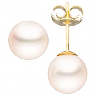 Ohrstecker 585 Gold Gelbgold 2 Süßwasser Perlen 6, 5 mm