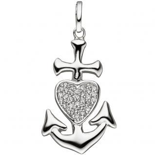 Anhänger Glaube Liebe Hoffnung 925 Silber mit Zirkonia Silberanhänger - Vorschau