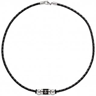 Collier Anker aus Leder und Edelstahl teil schwarz beschichtet 45 cm - Vorschau