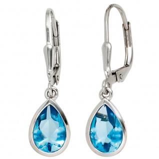 Boutons Tropfen 925 Sterling Silber 2 Zirkonia blau Ohrringe Ohrhänger