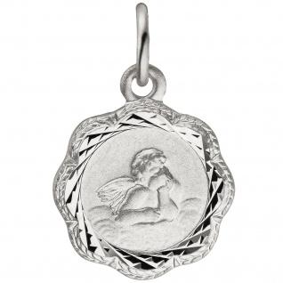 Anhänger Engel Schutzengel 925 Sterling Silber teil matt Silberanhänger