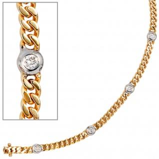 Armband 585 Gold Gelbgold Weißgold bicolor 6 Diamanten Brillanten 19 cm