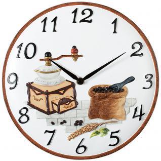 Atlanta 6102 Küchenuhr Wanduhr Küche Quarz analog weiß braun Motiv Kaffeemühle