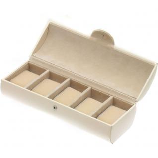 Davidt's Uhrenkoffer Uhrenkasten Uhrenbox beige weiß für 5 Uhren