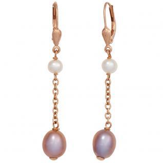 Boutons 925 Silber gold vergoldet 4 Süßwasser Perlen Ohrringe Ohrhänger