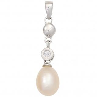 Anhänger 925 Sterling Silber 1 Süßwasser Perle rosé 1 Zirkonia Perlenanhänger