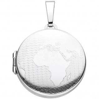 Medaillon Weltkarte 925 Sterling Silber für 2 Fotos