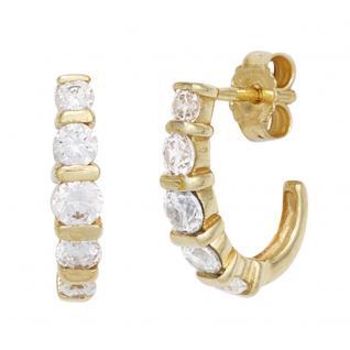Halbcreolen 333 Gold Gelbgold 10 Zirkonia Ohrringe Creolen Goldohrringe