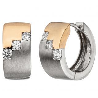 Creolen breit 925 Sterling Silber bicolor vergoldet matt 6 Zirkonia Ohrringe