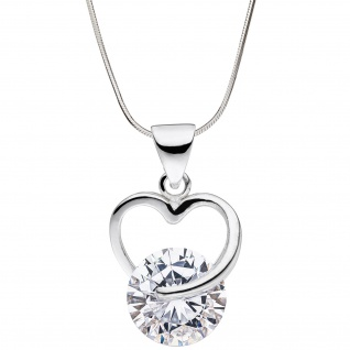 Anhänger Herz 925 Sterling Silber 1 Zirkonia Herzanhänger Silberanhänger - Vorschau 2