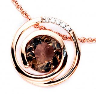 Anhänger 585 Gold Rotgold 5 Diamanten Brillanten 0, 035ct. 1 Rauchquarz braun - Vorschau 2