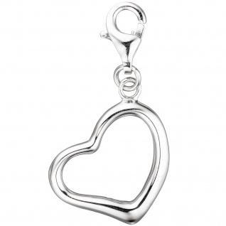 Einhänger Charm Herz 925 Sterling Silber rhodiniert Karabiner