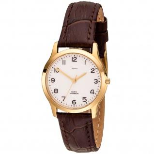 JOBO Damen Armbanduhr Quarz Analog Edelstahl vergoldet Lederband braun