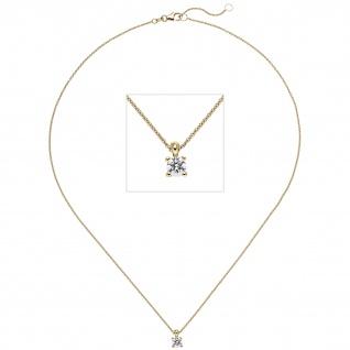Collier Kette mit Anhänger 585 Gold Gelbgold 1 Diamant Brillant 0, 50 ct. 45 cm