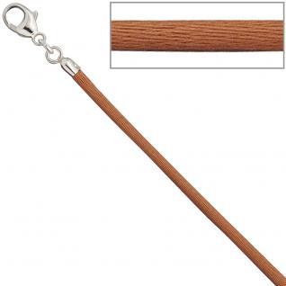 Collier Halskette Seide kupfer 2, 8 mm 42 cm, Verschluss 925 Silber Kette