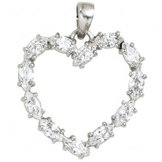 Anhänger Herz 925 Sterling Silber rhodiniert 12 Zirkonia Herzanhänger