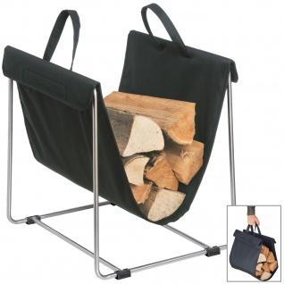 Blomus Holztrage MADRA, Kunstfaser anthrazit mit Edelstahl matt kombiniert