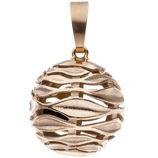Anhänger Kugel 925 Sterling Silber rotgold vergoldet teil matt Kugelanhänger