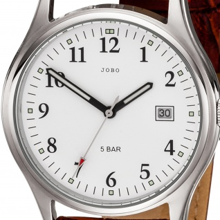 JOBO Herren Armbanduhr Quarz Analog Edelstahl Lederband rotbraun Herrenuhr Datum - Vorschau 2