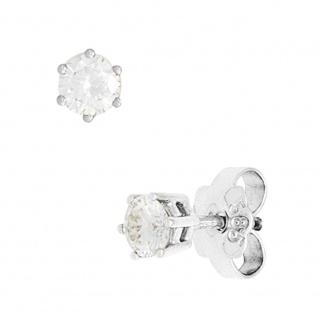 Ohrstecker rund 585 Gold Weißgold 2 Diamanten Brillanten 0, 15ct. Ohrringe