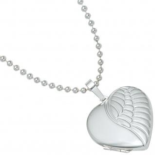 Medaillon Herz Flügel Engelsflügel 925 Silber matt Foto Anhänger zum Öffnen - Vorschau 5