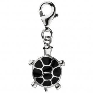 Einhänger Charm Schildkröte schwarz 925 Sterling Silber