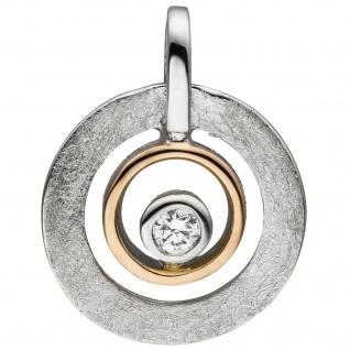 Anhänger 585 Gold Rotgold bicolor eismatt 1 Diamant Brillant