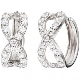 Creolen Unendlichkeit 925 Sterling Silber mit Zirkonia Ohrringe Silbercreolen