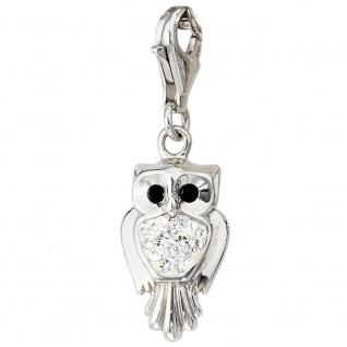 Einhänger Charm Eule 925 Sterling Silber rhodiniert SWAROVSKI® ELEMENTS