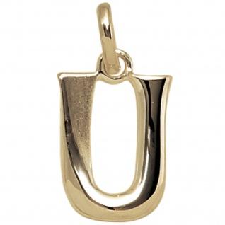 Anhänger Buchstabe U 375 Gold Gelbgold Buchstabenanhänger