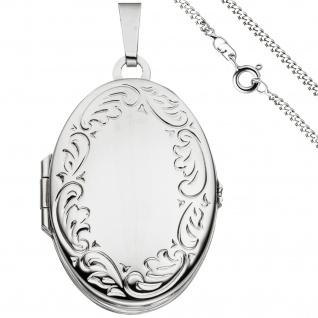 Medaillon oval Anhänger zum Öffnen für 4 Fotos 925 Silber mit Kette 50 cm