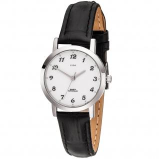JOBO Damen Armbanduhr Quarz Analog Edelstahl Lederband schwarz Damenuhr