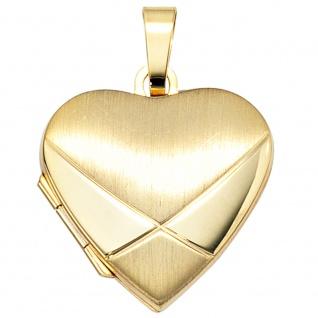 Medaillon Herz 585 Gold Gelbgold mattiert Anhänger zum Öffnen - Vorschau 4