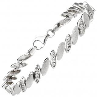 Armband 925 Sterling Silber matt 52 Zirkonia 19 cm Silberarmband