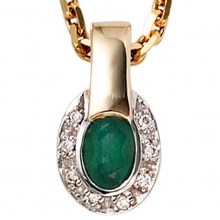 Anhänger oval 585 Gold Gelbgold bicolor 8 Diamanten Brillanten 1 Smaragd - Vorschau 2