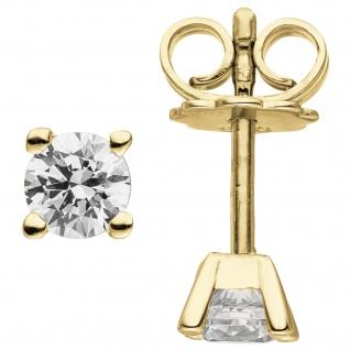 Ohrstecker 585 Gold Gelbgold 2 Diamanten Brillanten 0, 74 ct. Ohrringe